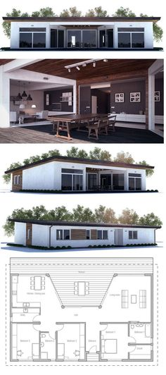 Small house plan with large covered terrace and full wall height windows toward terrace, three bedrooms. Floorplan from ConceptHome.com
