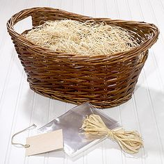 Awesome and cheap kit for making gift baskets. You get the basket, filling, raffia, gift tag, and cellophane for $5 at World Market.