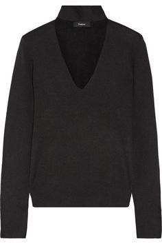 Theory | Cutout silk-blend turtleneck sweater | NET-A-PORTER.COM