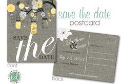 Mason+Jar+Save+the+Date+Postcard+Printable++by+LeesaDykstraDesigns,+$18.00