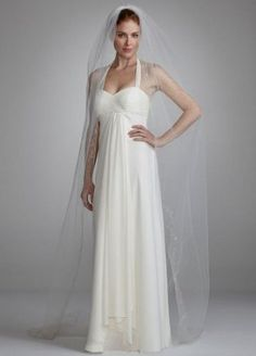 David's Bridal Single Tier Chapel Length Veil with Embroidery Style V154