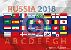 Russia 2018, qualification rounnds, vector illustration, all the flags