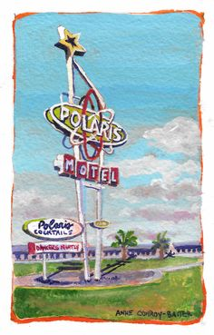 SoCB artist Anne Conroy-Baiter is creating a catalog of Space Coast motels and businesses of old. #cocoabeach, #gallery, #artist, #florida, #painting, #mainstreet, #minutemen, #downtown