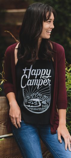 """Support the Muscular Dystrophy Association with each purchase of this cute """"Happy Camper"""" Tee! Your donation will have an impact on a child's life :)"""