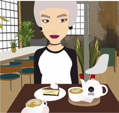 Vector love Hipster Illustration Coffee time KoKi