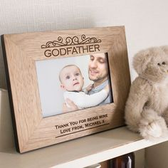 Engraved Wooden Picture Frame - Godfather   GettingPersonal.co.uk