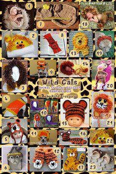 Wild Cat - roundup of 23 crochet wild cat patterns for apparel & accessories via @beckastreasures