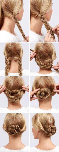 Плетеный пучок из двух кос
