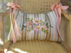 Handpainted silk cushion from Maritza Miniatures