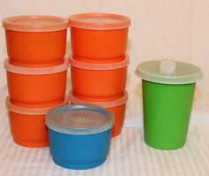 Vintage Tupperware 8 Bell Tumbler & Snack Cups Sippy Orange Blue 1/2 Cup Bowls