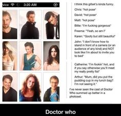 The last comment. This is doctor who