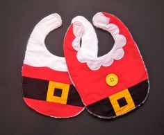 This Santa bib will be the perfect way to dress up your baby or toddler for the holidays! The bib is completely handmade with an extra soft and absorbent terry cloth back and a velcro closure. It is large enough for a baby or a toddler - I use these bibs with my almost two year old twins all the time and they are the best! Details: -Generous size perfect for babies and toddler -Measures 9 x 13 -Backed with super thick terry cloth -Machine washable -All fabrics prewashed to minimize sh...
