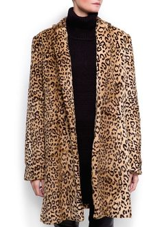 Animal print faux fur coat with polo neck, capris & black loafers
