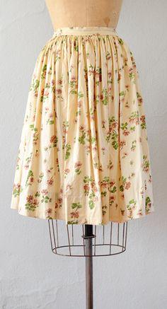VINTAGE 1950S CREAM COTTON FLORAL PRINT SKIRT // Alconbury Hill Skirt by Adored Vintage #50sskirt #1950s #vintageskirt