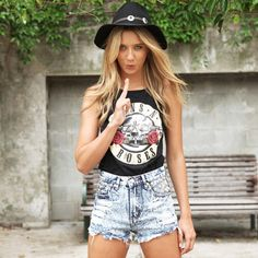 Get the guns and roses tank and bleach acid shorts now at SaboSkirt.com  #saboskirt - @saboskirt- #webstagram