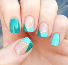 Classy twist on French manicure .. Color blocking nail art