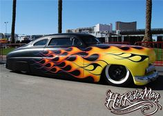 Likin' the reversed black flames. Chevrolet Bel Air, Custom Paint Jobs, Custom Cars, Dodge Charger, Ford Modelo T, Rolls Royce, Cadillac, Motorcycle Paint Jobs, Mercury Cars
