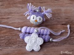 SALE Purple Christmas set decorations Crocheted owl by Etilinki