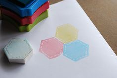 Making Hexagon Stamps by wildolive, via Flickr