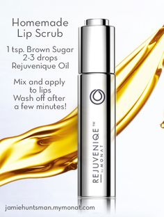 Rejuvenique oil from MONAT has 101 uses. Hair, hands, feet, body, home remedies, sun and scalp. Here's one of my favorite uses - Homemade Lip Scrub