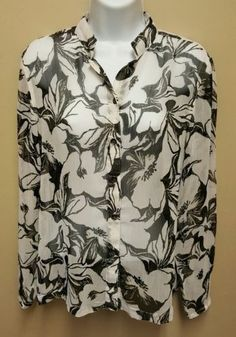 11.99$  Buy here - http://viepp.justgood.pw/vig/item.php?t=8kvs7nu25969 - Additions by Chicos size 0 black white floral sheer button down top 11.99$