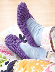 Bernat Easy Family Slippers - Free Crochet Pattern - (yarnspirations)