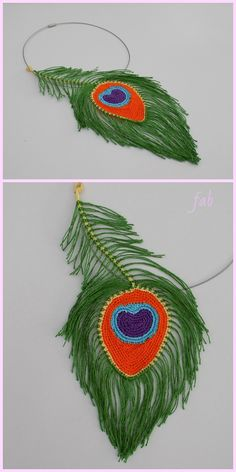 Peacock Feathers Crochet Pattern Free & Paid - Video - Her Crochet Marque-pages Au Crochet, Crochet Pattern Free, Crochet Necklace Pattern, Crochet Motifs, Crochet Flower Patterns, Thread Crochet, Crochet Designs, Crochet Flowers, Crochet Earrings