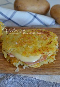 Potato rosti with ham and cheese - Rosti di patate con prosciutto e formaggio ricetta facile