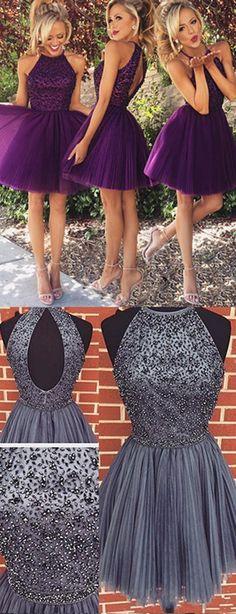 2016 homecoming dress,purple homecoming dress,grey homecoming dress,short prom dresses,elegant homecoming dress,halter homecoming dress,party dress,cute party dress,short prom dress for teens