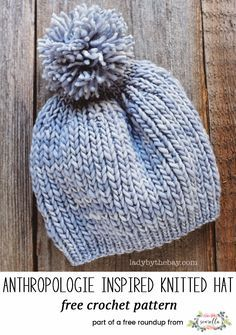 Knit this easy anthropologie inspired beanie hat with a pom pom from Lady By the Bay from my best knit patterns from 2017 free pattern roundup!