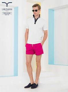 Boxer swim suit - Cotton polo shirt with neck details in contrast  - Canvas mocassins with leather detail      #SS2014 #fashion #style #menswear #luxury #larusmiani www.larusmiani.it