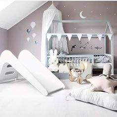 Your daily dose of kids' room design inspoComplete with a billowy cot canopy Stickstay wall stickers nursery buntin. Cloud Bedroom, Baby Bedroom, Kids Bedroom, Bedroom Decor, Cot Canopy, Kids Interior, Comfy Bedroom, Childrens Room Decor, Baby Pillows