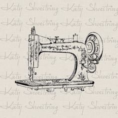 Vintage Sewing Machine Printable Sewing Crafts Digital Image Fabric Transfer To Burlap Paper Crafts Pillows Tea Towels Totes