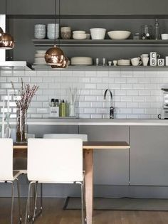 Shades of grey and copper accents with open shelves, perfect kitchen