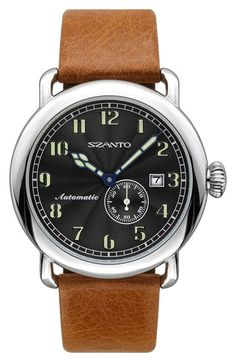 Automatic Leather Strap Watch, 43mm