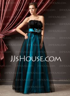 Prom Dresses - $149.99 - A-Line/Princess Strapless Floor-Length Satin Tulle Prom Dresses With Ruffle Beading (018014241) http://jjshouse.com/A-line-Princess-Strapless-Floor-length-Satin-Tulle-Prom-Dresses-With-Ruffle-Beading-018014241-g14241
