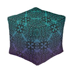 Ornate Purple Teal And Black Pattern Pouf