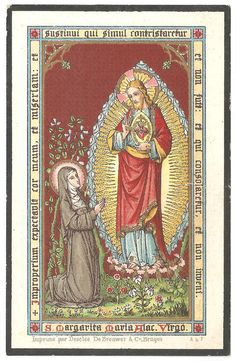 Margaret Mary Alacoque & Sacred Heart of Jesus Antique Vintage French Goldprint Holy Prayer Card, Devotional Ephemera Vintage Holy Cards, Vintage Paper, St Margaret, Blessed Mother Mary, Heart Of Jesus, Catholic Gifts, Prayer Cards, Patron Saints, Sacred Heart