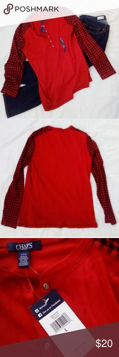 Chaps Long Sleeve Red Check Tee NWT Sz large 1% cotton Metal buttons Red/black Chaps Tops Tees - Long Sleeve