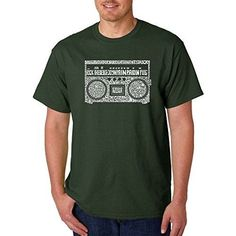 Men's Graphic Novelty T-shirt Tees 100% Cotton - Greatest Rap Hits of The 1980's - Forest Green - X-Large