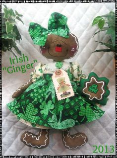 ♣ Primitive Raggedy St Patrick's Irish Gingerbread Doll ♣ Ginger Creek Crossing | eBay