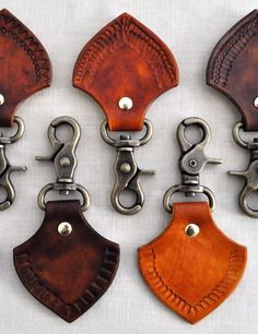 Hand tooled leather key chains from Canoe