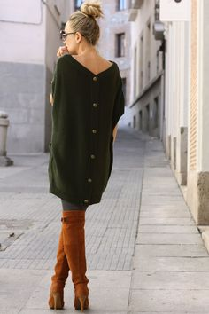 Loving this moss green sweater dress with buttons in back and these over-the-knee boots