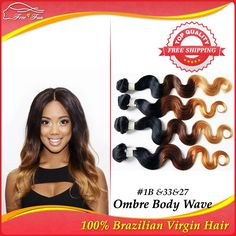 gorgeous Three Tone Color Ombre Human Hair Extensions 4PCS/LOT 1B#33#27# Ombre Brazilian Virgin Hair Weave Body Wave 12-30 Inch $122.25 - 264.25