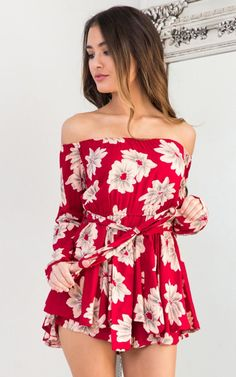 Showpo Time to Pretend playsuit in wine floral - 6 (XS) Rompers &