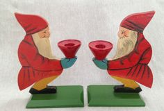 2 Red Tomte Swedish Sweden Christmas Wood Vintage Candle Holder Pair Santa Elf | eBay. Repinned by www.mygrowingtraditions.com