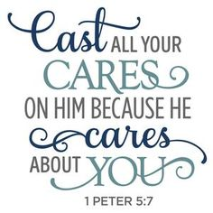 Silhouette Design Store: cast all your cares on him phrase Prayer Verses, Bible Verses Quotes, Bible Scriptures, Cast All Your Cares, Christian Quotes, Christian Shirts, Words Of Encouragement, Spiritual Quotes, Trust God