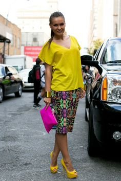 Electric Yellow. Spring 2014, New York Fashion Week - Best Street Style Looks