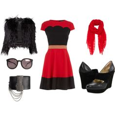 Outfit featuring our black TYPEWRITER wedges.