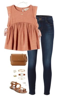 """peachy"" by tessorastefan ❤ liked on Polyvore featuring J Brand, Kendra Scott, Steve Madden, J.Crew, Tory Burch, Cartier and Kate Spade"